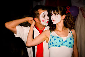 Brent and Corina dressed as clowns for the dance party